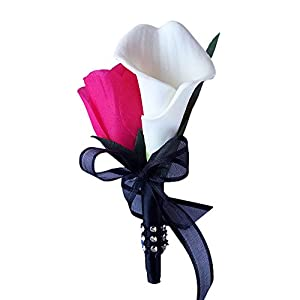 Boutonniere - Hot Pink Rose with White Calla Lily Boutonniere Balck Ribbon with Pin for Prom, Party, Wedding 93