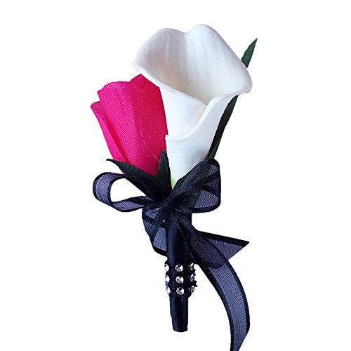 Boutonniere - Hot Pink Rose with White Calla Lily Boutonniere Balck Ribbon with Pin for Prom, Party, - Beautiful Lilies Pink