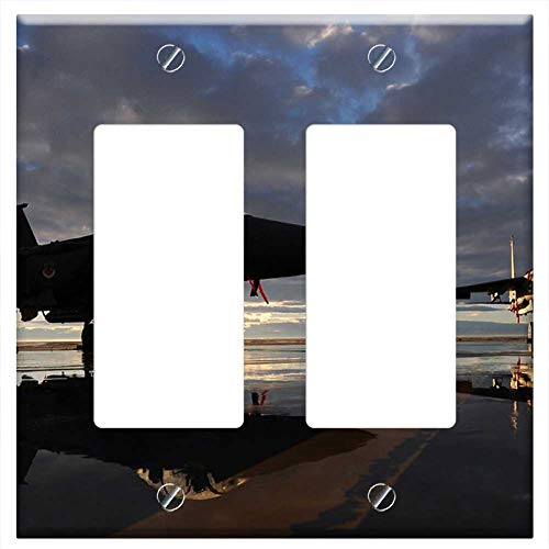- Switch Plate Double Rocker/GFCI - Us Air Force F-15E Fighter Jet Aircraft Sky Clouds