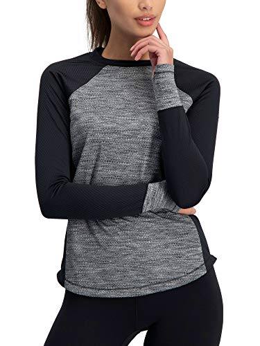 Long Sleeve Compression Workout Tops for Women - Thermal Running Shirt, Dry Fit w/Thumbholes Jet Black