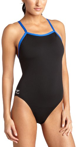 Speedo Women's Race Endurance+ Polyester Flyback Training One Piece Swimsuit, Black and Blue, - Material Pbt Swimsuit