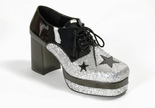 1970s Glam Rock Male Platform Fancy Dress Shoes - Medium (US 10-11) (70s Glam Rock Fancy Dress)