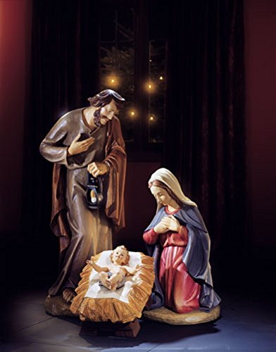3-piece 32 Inches High Val Gardena Holy Family Nativity Set Resin Hand-carved Wood Replica by Christian Brands (Image #1)