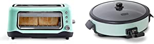 Dash Clear View Toaster: Extra Wide Slot Toaster with Stainless Steel Accents - Aqua & Family Size Rapid Heat Electric Skillet + Hot Oven Cooker with 14 inch Nonstick Surface + Recipe Book, Aqua