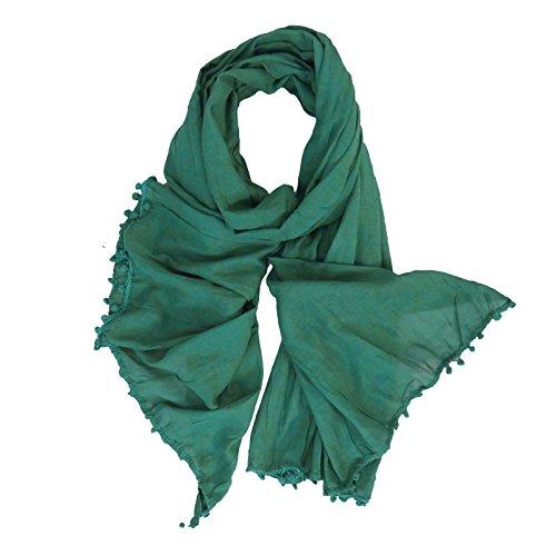 Hijab Wrap Head Tassel Vert Coton Franges Etole Dupatta Sarcelle Chunni Echarpes Foulard qUqzaf