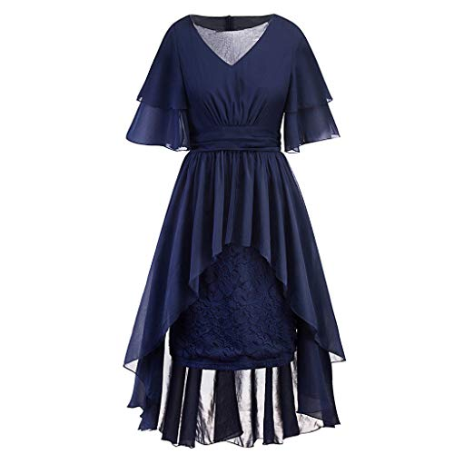 Womens Plus Size Vintage Party Dress L-5XL,Short Sleeve V-Neck Lace Pleated Hight Low Cocktail Swing Formal Dresses Navy