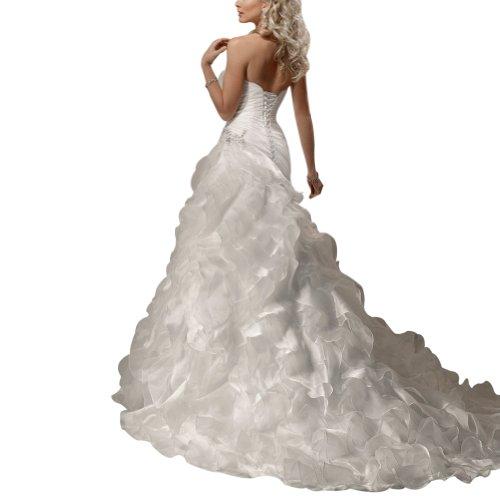 Zug Hochzeitskleider Weiß Satin Brautkleider Organza ueber BRIDE Tiered GEORGE Kapelle 4wRYTx