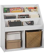 SoBuy KMB01-W Boekenrek Boekenplank Opbergvak Kinderplank Speelgoedkast met 3 opbergvakken en 2 open vakken - Wit