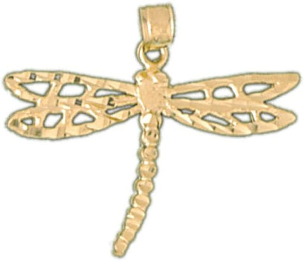 14k Yellow Gold Dragonfly Pendant