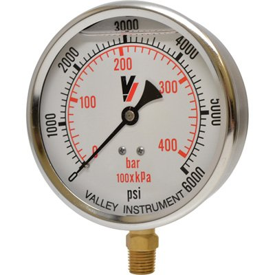 Valley Instrument Grade A 4in. Stem Mount Glycerin Filled Gauge - 0-6,000 PSI