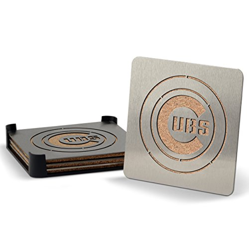 Bbq Cubs Set - MLB Chicago Cubs Boasters, Heavy Duty Stainless Steel Coasters, Set of 4
