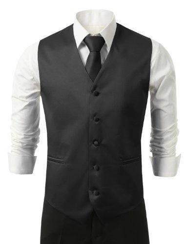 IDARBI for MEN 3 Pieces Set Solid Formal Tuxedo Vest Set / BLACK-2XLARGE