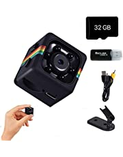 Mini Spy Camera, 1080P/720P Small Portable Camera, Wireless Hidden Camera, Motion Detection, Video and Audio Recording, Night Vision, Including 32G SD Card & Card Reader
