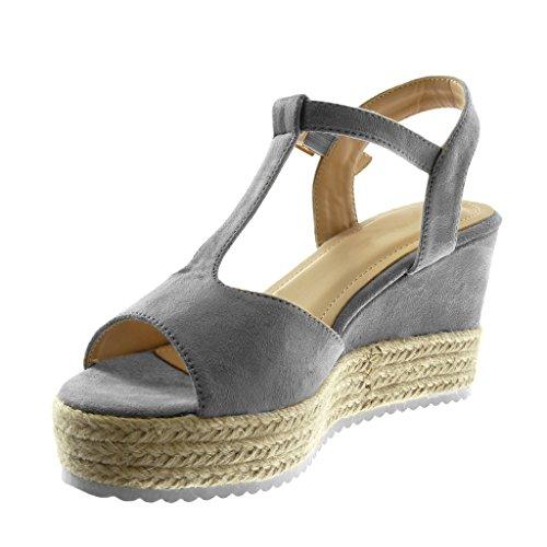 Sandale Semelle 8 Plateforme Chaussure Mule Corde Salomés Mode Lanière cm Gris Plateforme 5 Femme Basket Tréssé Talon Angkorly Compensé qxnYpZEp