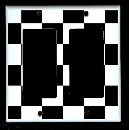 (Double Decora Rocker GFI Outlet Wall Plate Cover - Racing Race Cars - Black and White Checkered Checkers)