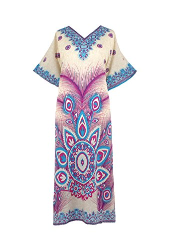 Mia Creations Peacock Feather Print Long Kaftan Plus Size Maxi Dress (Ivory-Pink-Blue)