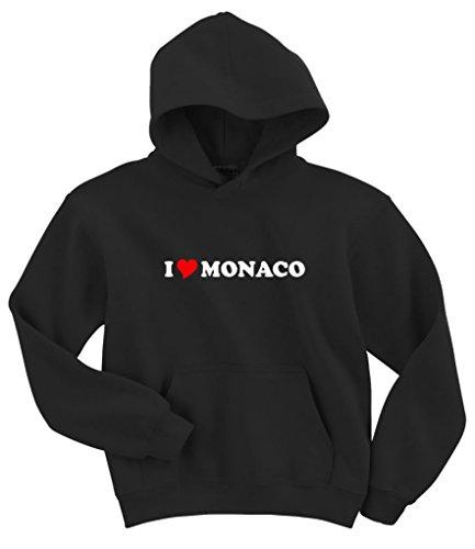 Gildan I Love Monaco Hoodie Sweatshirt Black S ()