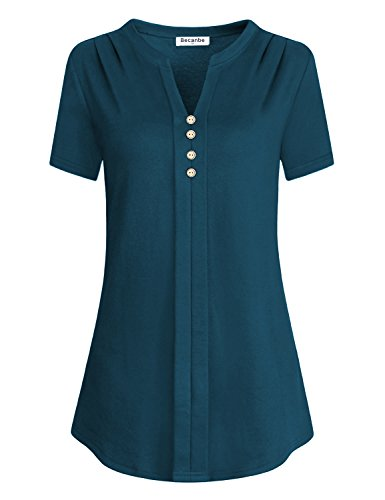 Shirred Front Shirt - Becanbe Henley Shirt For Women, Ladies Split V Neck Blouses Short Sleeve Jersey Pleats Front Shirred Shirts Button Up Tops(RiverBlue,Large)