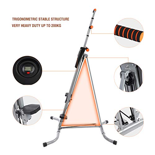 Yosooo Home Climber Machine, Adjustable Folding Heavy Duty Steel Vertical Full Body Workout Fitness Climber Climbing Cardio Exercise Machine Home Gym Stepper by Yosooo (Image #3)