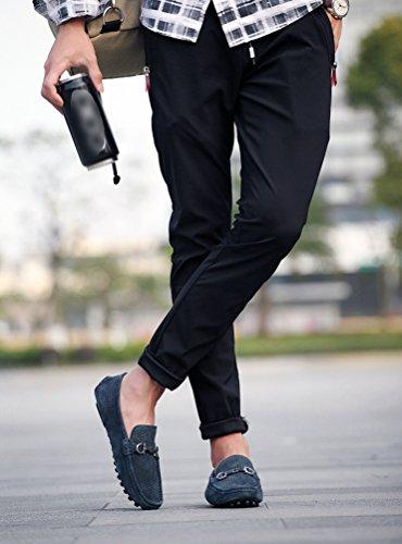 Chaussures à Casual Nuoxiang Bleu Creux on Respirant Bateau Randonnée Hommes Plat Chaussures Mocassins D'extérieur Cuir Conduite PU Slip en xaxpP