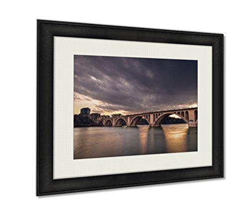 Ashley Framed Prints, Francis Scott Key Bridge At Sunset Wall Art Decor Giclee Photo Print In Black Wood Frame, Soft White Matte, Ready to hang, 24x30 Art