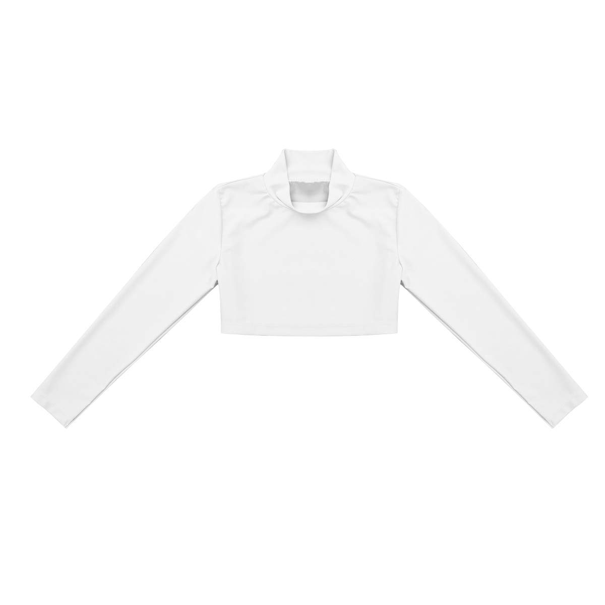Alvivi Ni/ñas Camiseta Corta de Danza Ballet Jazz Crop Tops Mangas Largas Cuello Blusa Deportiva Leotardo de Gimnasia Chicas 6-14 A/ños