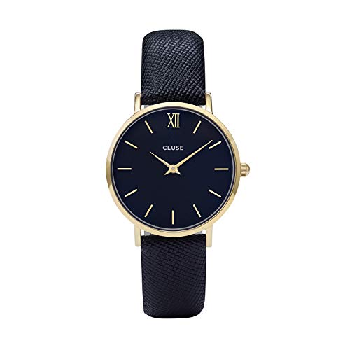 (CLUSE Minuit Gold Midnight Blue CL30014 Women's Watch 33mm Leather Strap Minimalistic Design Casual Dress Japanese Quartz Elegant Timepiece)