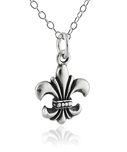 Sterling Silver Tiny Fleur De Lis Charm Pendant Necklace, 18 Inch Chain