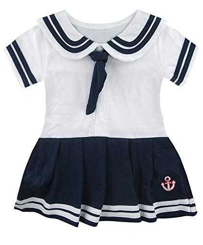 - COSLAND Toddler Baby Girls' Sailor White Dress Costume (White, 2T)