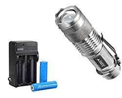 FINIGO Mini Led Flashlight Torch Adjustable Focus Zoom Light (With 14500 Batteries and Charger) by FINIGO