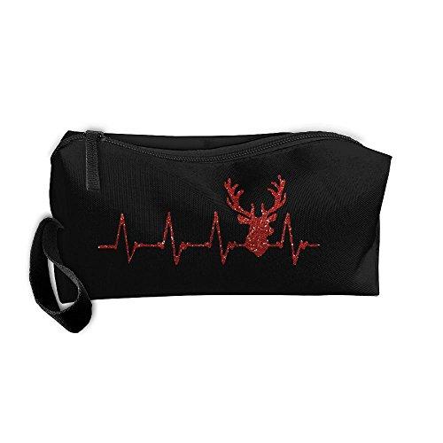 Deer Heartbeat Hunting Multi-functional Cosmetic Makeup Bag Zipper Closure Bags Toiletries Organizer (Queen Of Hearts Costume Australia)