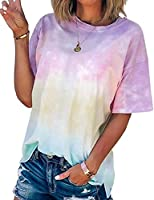 NANYUAYA Womens Tie-Dye Gradient Rainbow Short-Sleeved T Shirt Colorful Round Neck Casual Tunic Tops