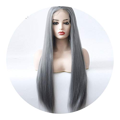 pursuit-of-self Black Women Straight Dark Grey Color Glueless Synthetic Lace Front Wigs,Dark Grey, ()