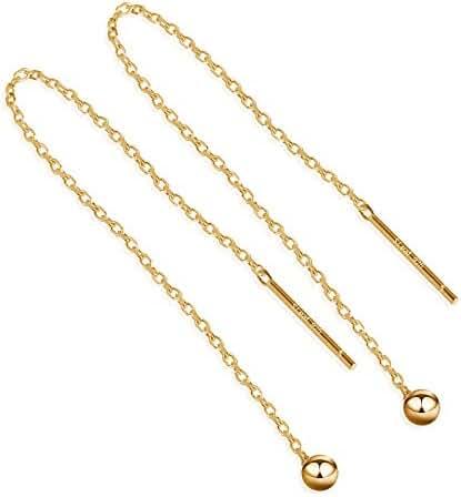 S.Leaf Minimalism Threader Tassel Earrings Sterling Silver Tiny Ball Drop Long Chain Earrings