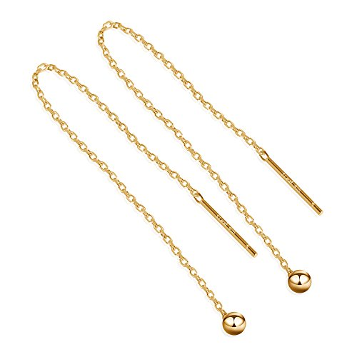 S.Leaf Minimalism Threader Tassel Earrings Sterling Silver Tiny Ball Drop Long Chain Earrings (9 CM/Gold)