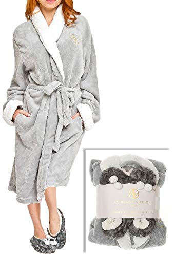 Adrienne Vittadini Women's Soft Plush Comfy Sherpa Lined House Bath Robe & Sherpa Printed Slippers Set,Robe-One Size/Slippers-L(9)/XL(11),Light Grey With Grey Zebra Slipper (House Sherpa)