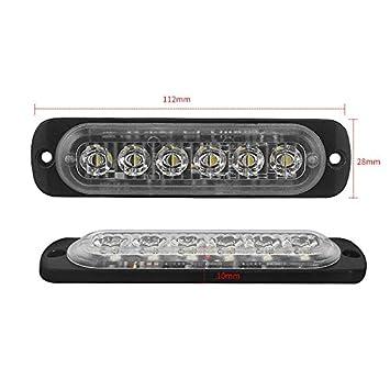 TOOGOO 12V 24 V 6 Lumi/ère LED Urgence Flash V/éhicule De Voiture Avertissement Stroboscopique Clignotant Blanc