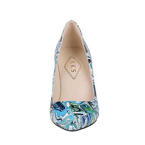 EKS - Zapatos de Tacón Mujer Blau-Print