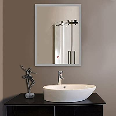 ShellKingdom LED Backlit Mirror with Border, LED Wall Mounted Lighted Vanity Bathroom Silvered Illuminated Mirror with Touch Button(SK-S5520)