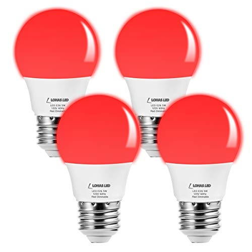 LOHAS LED Red Light Bulbs, A15 Dimmable Bulb, 40W Equivalent, Red Light Bedroom Nightlights, Sleep Aid Plant Grow Light, Small Bulb E26 Base, Decorative Chandelier Lighting Ceiling Fan Bulbs(4Pack)