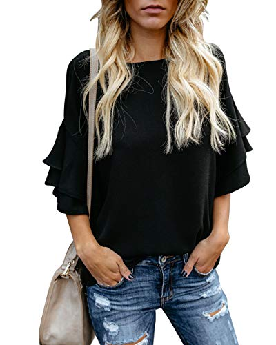 Tiered Top Sleeve (BELONGSCI Women's Elegant Trumpet Sleeve Casual Blouses Shirt Half Tiered Bell Sleeve Crewneck Loose Tops Shirts Black)