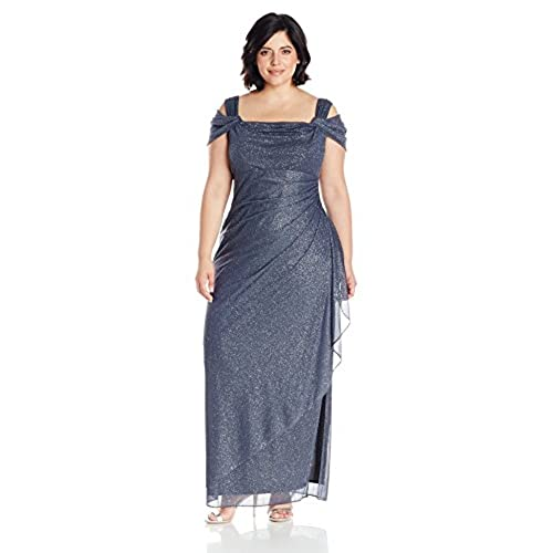 Alex Evenings Womens Plus Size Long Cold Shoulder Dress, Smoke, 22W
