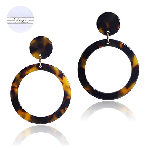 S925 Sterling Silver Women Resin Tortoise Shell Hoop Earrings Statement Drop Dangle Acrylic Earrings for Girls Acetate Fashion Jewelry