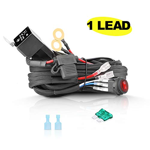 Wiring Harness 1 Lead, AKD Part LED Light Bar Heavy Duty Wiring Harness Kit 12V 40A for Off Road Driving Lights Relay Fuse Rocker Switch Jeep ATV UTV Marine ()