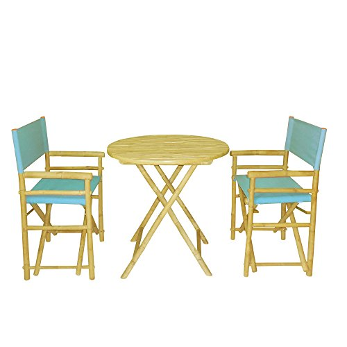 Zew Bamboo 3-Piece Bistro Dining Set with Round Folding Table and 2 Canvas Folding Director Chairs, Light Blue (Bamboo Dining Table And Chairs)