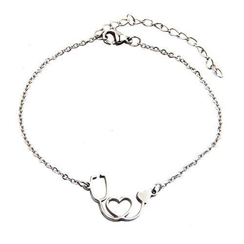 Doctor Nurse Stethoscope Stainless Steel Bracelet with Heart (Silver bracelet) (Bracelet Hearts Charm 23)