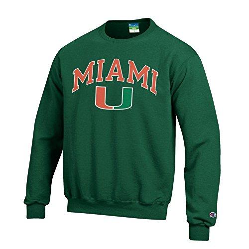 Elite Fan Shop NCAA Miami Hurricanes Male Team Color Crewneck Sweatshirt, Miami Hurricanes Forest Green, X-Large