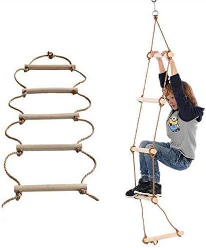 ISOP Escalera de Cuerda para Interiores o Exteriores para niños o Adultos de 3 m - para la decoración del Juego de Columpios para Escalar árboles de Ejercicios y Muchos más: Amazon.es: