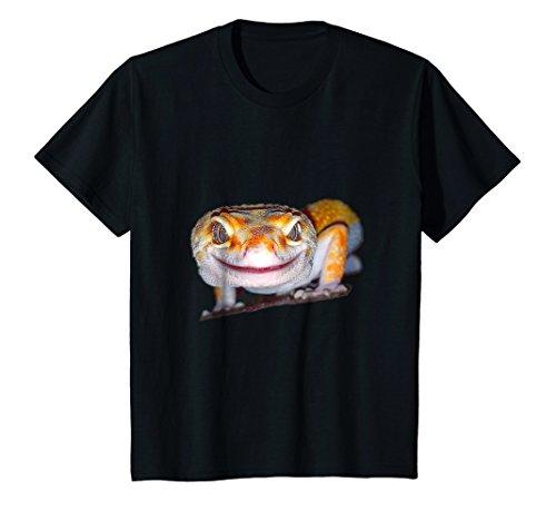 Kids Leopard Gecko - Beautiful Lizard, Crazy Smile T-Shirt 10 Black