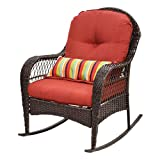 Product review for COLIBROX--Outdoor Wicker Rocking Chair Porch Deck Rocker Patio Furniture w/ Cushion New Diensday All-weather Wicker Chair.